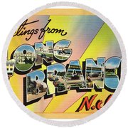 Long Branch Greetings Round Beach Towel