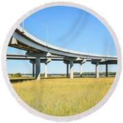Long Concrete Bridge  Round Beach Towel