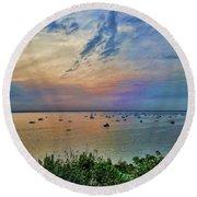 Long Island Sound From Glen Cove Round Beach Towel
