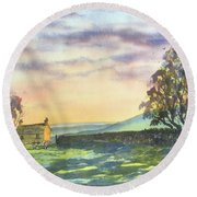 Long Shadows At Sunset Round Beach Towel