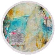 Round Beach Towel featuring the painting Look How Far We've Come by Tracy Bonin