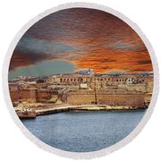 Looking Across Harbor From Fort St Elmo To  Fort Rikasoli Round Beach Towel