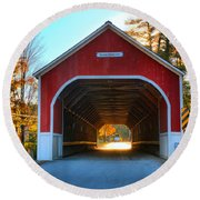 Looking Into The Cresson Covered Bridge Round Beach Towel