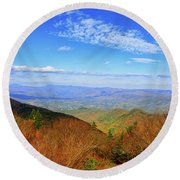 Round Beach Towel featuring the photograph Looking Towards Vermont And New Hampshire by Raymond Salani III