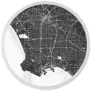 Los Angeles Map Black And White Round Beach Towel
