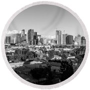 Los Angeles Skyline Looking East 2.9.19 - Black And White Round Beach Towel