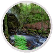 Round Beach Towel featuring the photograph Lost Bridge by Bill Wakeley
