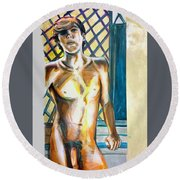 Round Beach Towel featuring the painting Lost Summer Love  by Rene Capone