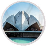 Lotus Temple Round Beach Towel