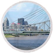 Louisville Across The River Round Beach Towel