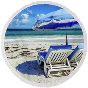 Round Beach Towel featuring the photograph Lounging On Orient Beach, St. Martin by Dawn Richards