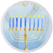 Love And Light For Hanukkah Round Beach Towel
