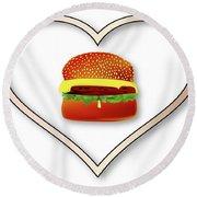 Love Burgers Round Beach Towel