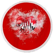 Love Chicago Colors Round Beach Towel