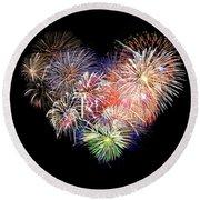 Love Fireworks Round Beach Towel