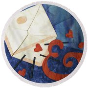 Love Letter Round Beach Towel