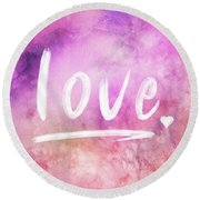 Love Watercolor In Pink Round Beach Towel