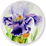 Lovely Iris Round Beach Towel
