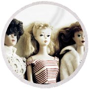 Lovely Old Barbies Round Beach Towel