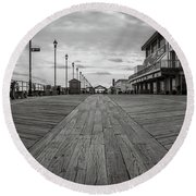 Low On The Boardwalk Round Beach Towel