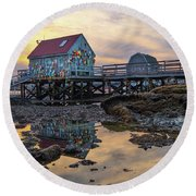 Low Tide Reflections, Badgers Island.  Round Beach Towel