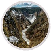 Round Beach Towel featuring the photograph Lower Falls In Yellowstone by Scott Read