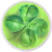 Round Beach Towel featuring the pastel Lucky Four Leaf Clover by MM Anderson