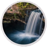 Round Beach Towel featuring the photograph Ludlow Falls Ohio by Dan Sproul