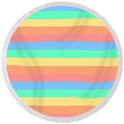 lumpy or bumpy lines abstract and summer colorful - QAB275 Round Beach Towel