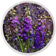 Lupine And Blueberries  Round Beach Towel