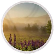 Lupine In The Fog, Sugar Hill, Nh Round Beach Towel
