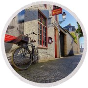 Round Beach Towel featuring the photograph Lux Cobblestone Road Brugge Belgium by Nathan Bush
