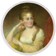 Portrait Of Lydia Leaming, 1806 Round Beach Towel