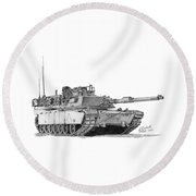 Round Beach Towel featuring the drawing M1a1 A Company Commander Tank by Betsy Hackett