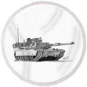 Round Beach Towel featuring the drawing M1a1 A Company Xo Tank by Betsy Hackett
