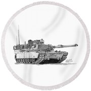 Round Beach Towel featuring the drawing M1a1 B Company 1st Platoon Commander by Betsy Hackett