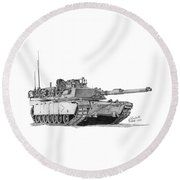 Round Beach Towel featuring the drawing M1a1 B Company Commander Tank by Betsy Hackett