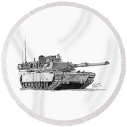 Round Beach Towel featuring the drawing M1a1 Battalion Commander Tank by Betsy Hackett