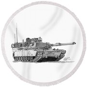 Round Beach Towel featuring the drawing M1a1 Battalion Master Gunner Tank by Betsy Hackett