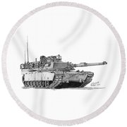 Round Beach Towel featuring the drawing M1a1 C Company Commander Tank by Betsy Hackett