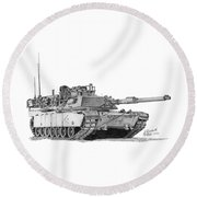 Round Beach Towel featuring the drawing M1a1 D Company Xo Tank by Betsy Hackett