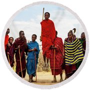 Round Beach Towel featuring the photograph Maasai Jumping Dance by Kay Brewer