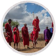 Maasai Adumu Round Beach Towel