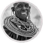 Round Beach Towel featuring the photograph Maasai Woman In Black And White by Kay Brewer
