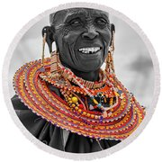 Round Beach Towel featuring the photograph Maasai Woman In Selective Color by Kay Brewer