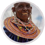 Round Beach Towel featuring the photograph Maasai Woman In Tanzania by Kay Brewer