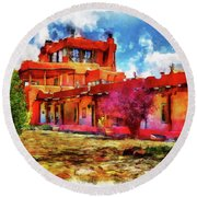 Mabel's Courtyard In Aquarelle Round Beach Towel