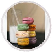 Round Beach Towel featuring the pastel Macaroons  by Fe Jones