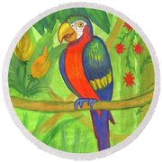 Macaw Parrot In The Wild Round Beach Towel