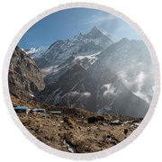 Machhapuchhare Base Camp In Nepal Round Beach Towel